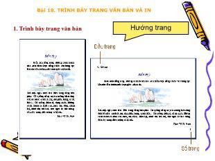Bài giảng Tin học Lớp 6 - Bài 18: Trình bày trang văn bản và in