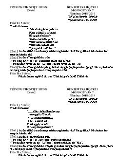 2 Đề kiểm tra học kì I môn Ngữ văn Lớp 7 - Năm học 2018-2019 - Trường THCS Việt Hưng (Có đáp án)