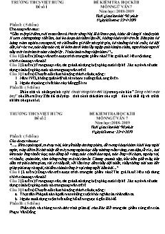 2 Đề kiểm tra học kì II môn Ngữ văn Lớp 7 - Năm học 2018-2019 - Trường THCS Việt Hưng (Có đáp án)