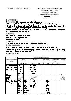 4 Đề kiểm tra giữa học kì I môn Địa lý Lớp 7 - Năm học 2020-2021 - Trường THCS Việt Hưng (Có đáp án)