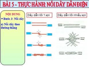 Bài giảng Công nghệ Lớp 9 - Bài 5: Thực hành Nối dây dẫn điện