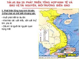 Bài giảng Địa lý Lớp 9 - Bài 39: Phát triển tổng hợp kinh tế và bảo vệ tài nguyên, môi trường biển - đảo