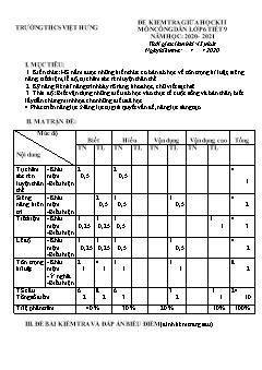 Bộ đề kiểm tra giữa học kì I môn Giáo dục công dân Lớp 6 - Năm học 2020-2021 - Trường THCS Việt Hưng (Có đáp án)