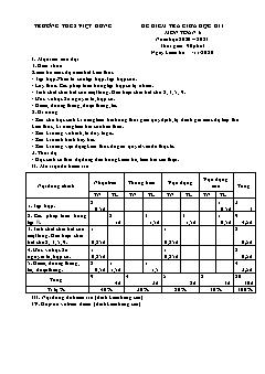 Bộ đề kiểm tra giữa học kì I môn Toán Lớp 6 - Năm học 2020-2021 - Trường THCS Việt Hưng (Có đáp án)