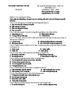 Bộ đề kiểm tra học kì I môn Địa lý Lớp 7 - Năm học 2019-2020 - Trường THCS Việt Hưng