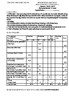 Bộ đề kiểm tra học kì I môn Giáo dục công dân Lớp 6 - Năm học 2018-2019 - Trường THCS Việt Hưng (Có đáp án)