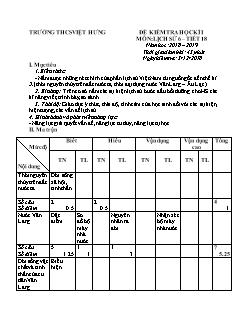 Bộ đề kiểm tra học kì I môn Lịch sử Lớp 6 - Năm học 2018-2019 - Trường THCS Việt Hưng