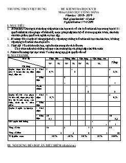 Bộ đề kiểm tra học kì II môn Giáo dục công dân Lớp 6 - Năm học 2018-2019 - Trường THCS Việt Hưng (Có đáp án)