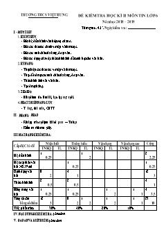 Bộ đề kiểm tra học kì II môn Tin học Lớp 6 - Năm học 2018-2019 - Trường THCS Việt Hưng (Có đáp án)