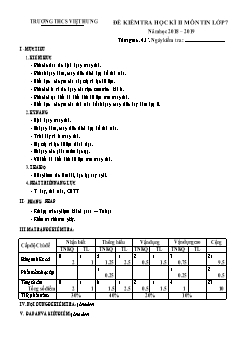 Bộ đề kiểm tra học kì II môn Tin học Lớp 7 - Năm học 2018-2019 - Trường THCS Việt Hưng (Có đáp án)