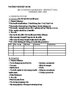 Đề cương ôn tập học kì I môn Ngữ văn Lớp 6 - Năm học 2019-2020 - Trường THCS Việt Hưng