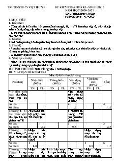 Đề kiểm tra giữa học kì I môn Sinh học Lớp 6 - Năm học 2020-2021 - Trường THCS Việt Hưng (Có đáp án)