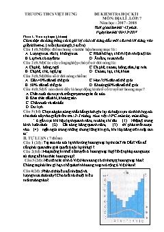 Đề kiểm tra học kì I môn Địa lý Lớp 7 - Năm học 2017-2018 - Trường THCS Việt Hưng (Có đáp án)