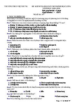 Đề kiểm tra học kì I môn Sinh học Lớp 6 - Mã đề 357 - Năm học 2019-2020 - Trường THCS Việt Hưng