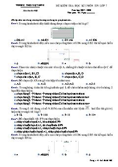 Đề kiểm tra học kì I môn Tin học Lớp 7 - Mã đề 468 - Năm học 2019-2020 - Trường THCS Việt Hưng