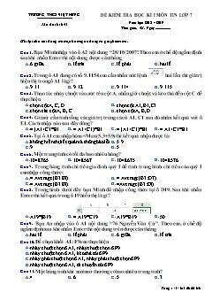 Đề kiểm tra học kì I môn Tin học Lớp 7 - Mã đề 641 - Năm học 2018-2019 - Trường THCS Việt Hưng