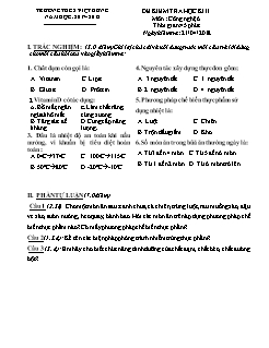 Đề kiểm tra học kì II môn Công nghệ Lớp 6 - Năm học 2017-2018 - Trường THCS Việt Hưng (Có đáp án)