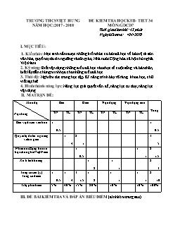 Đề kiểm tra học kì II môn Giáo dục công dân Lớp 7 - Năm học 2017-2018 - Trường THCS Việt Hưng (Có đáp án)