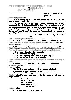Đề kiểm tra học kì II môn Ngữ văn Lớp 6 - Năm học 2016-2017 - Trường THCS Việt Hưng (Có đáp án)