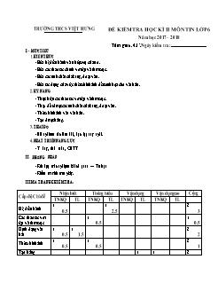 Đề kiểm tra học kì II môn Tin học Lớp 6 - Năm học 2017-2018 - Trường THCS Việt Hưng (Có đáp án)
