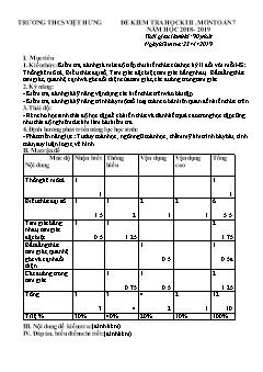 Đề kiểm tra học kì II môn Toán Lớp 7 - Đề 1 - Năm học 2018-2019 - Trường THCS Việt Hưng (Có đáp án)