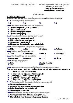Đề thi học kì I môn Sinh học Lớp 7 - Mã đề 209 - Năm học 2019-2020 - Trường THCS Việt Hưng