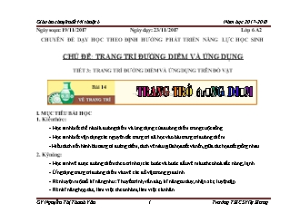 Giáo án Mĩ thuật Lớp 6 - Tiết 15: Vẽ trang trí đường diềm - Năm học 2017-2018 - Nguyễn Thị Thanh Vân